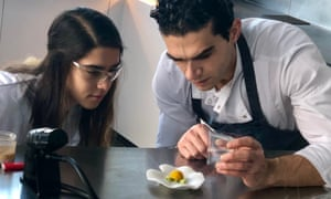 Jozef Youssef, right, demonstrates some chemical cuisine.