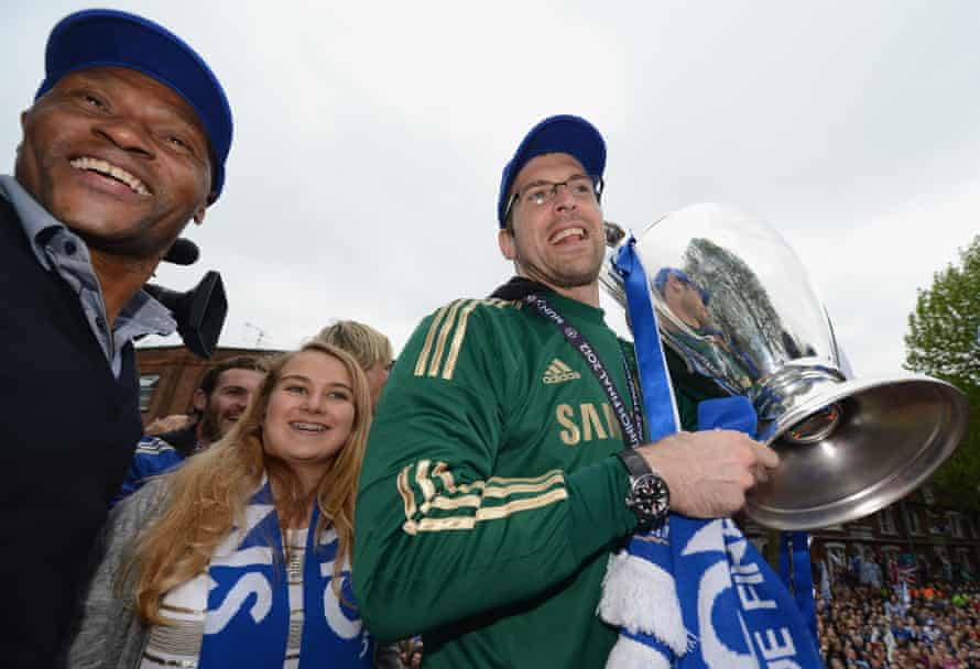 Michael Emenalo (left) alongside Petr Cech on the victory parade after winning Chelsea won the 2012 Champions League.