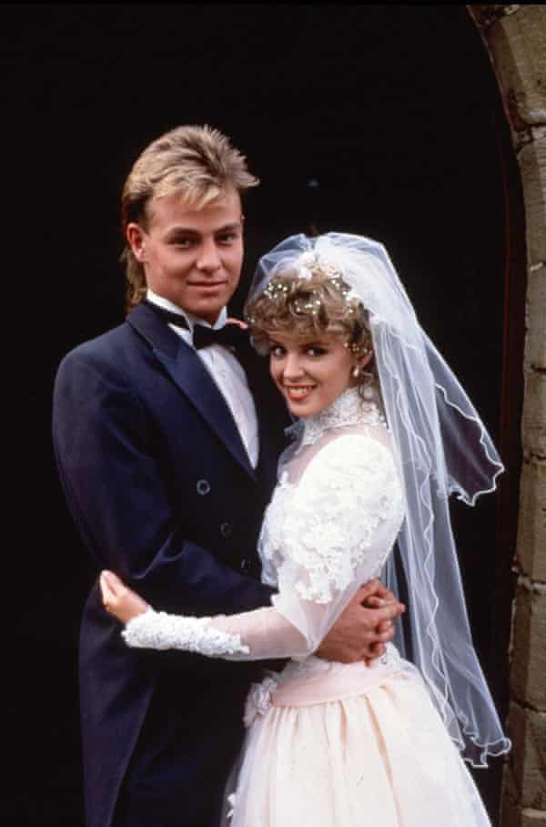 Donovan and Kylie Minogue as Scott and Charlene in Neighbours