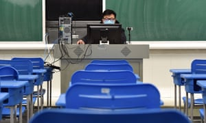 History teacher Dong Tiansheng gives an online tuition to students in east China's Anhui Province.