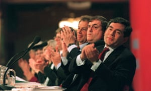 Tony Blair, John Prescott and Gordon Brown at the Labour party conference in 1998.