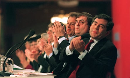 Applause from Tony Blair, John Prescott and Gordon Brown for David Obajie's speech at the Labour party conference in 1998