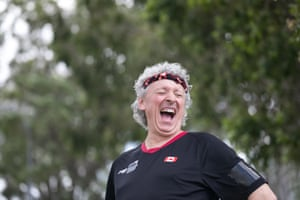 Ian Kent laughing just before he competed in the TT6-10 table tennis singles.