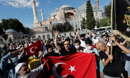 People gather in front of the Hagia Sophia