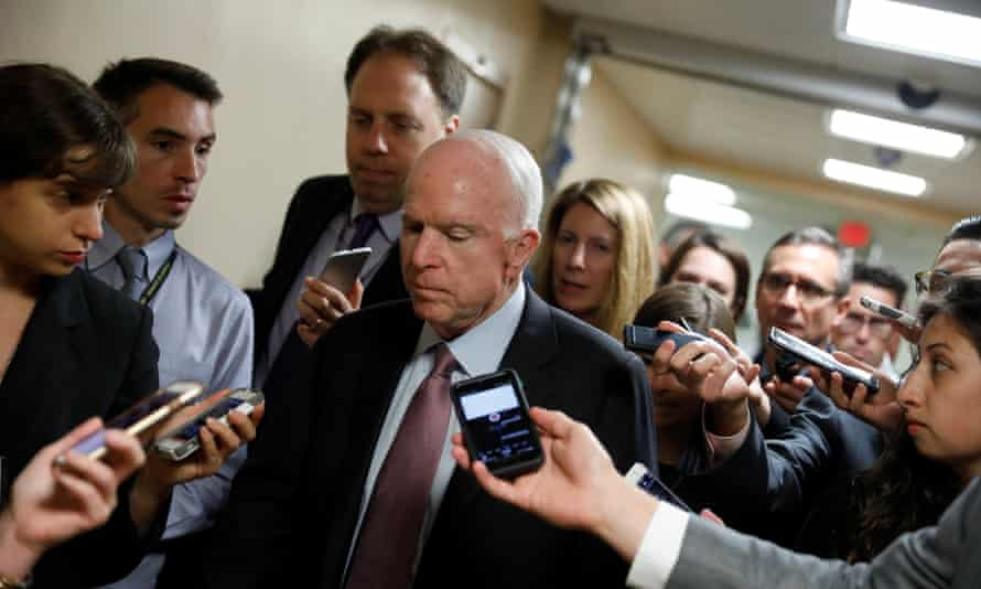 John McCain speaks with reporters on Capitol Hill in Washington on Tuesday.