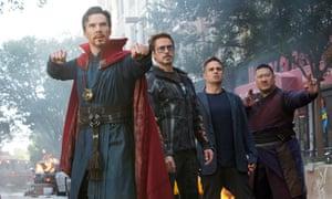 From left, Benedict Cumberbatch, Robert Downey Jr, Mark Ruffalo and Benedict Wong in Avengers: Infinity War.