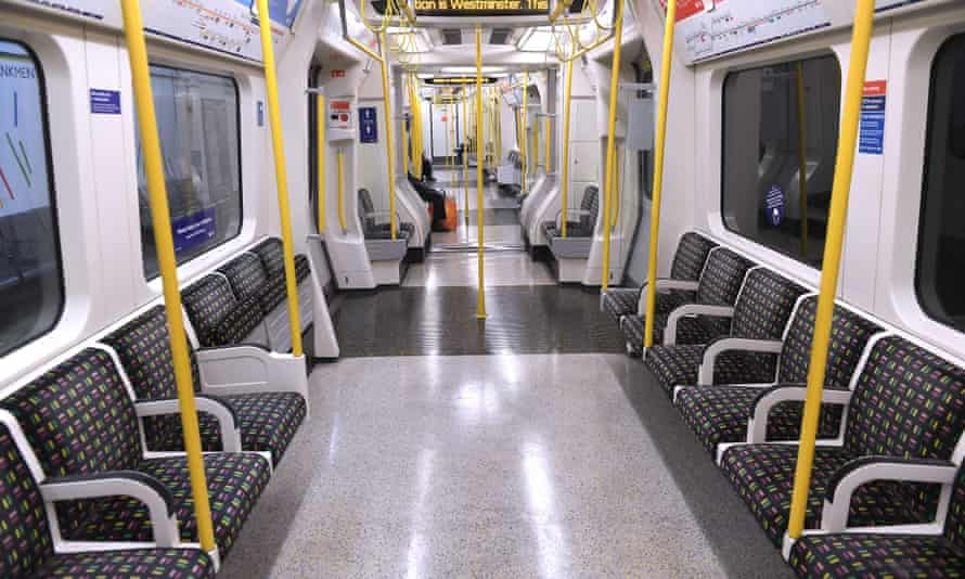 A near-empty Circle line tube train as England entered its second lockdown.