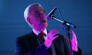 Britain's shadow chancellor John McDonnell speaks at a 'The World Transformed' event in Liverpool.