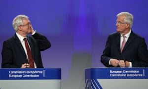 David Davis (left) and Michel Barnier at their news conference in Brussels.
