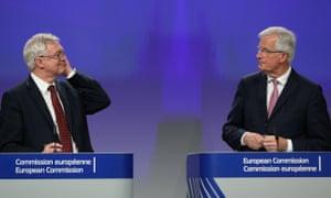 David Davis and Michel Barnier in Brussels.