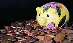 Coins and a piggybank