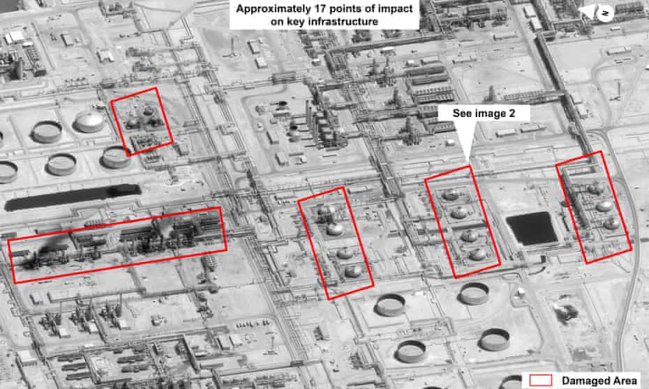 This image provided by the US government and DigitalGlobe shows damage to the infrastructure at Saudi Aramco's Abqaiq oil processing facility in Buqyaq.