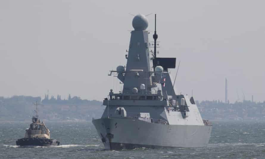 The Royal Navy ship HMS Defender arriving at the Black Sea port of Odessa, last week.