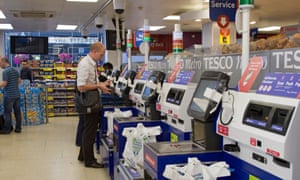 Self-service checkout at a Tesco store in central London.