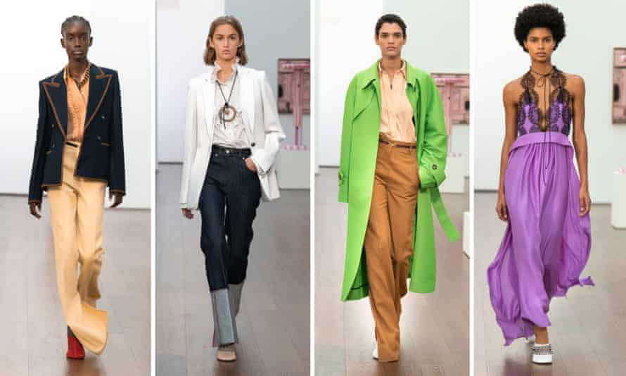Victoria Beckham presented her new collection to small groups of visitors in a Hoxton art gallery.
