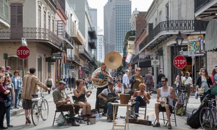 Stalebread Scottie and His Gang perform on the corners of Royal and Toulouse streets in the French Quarter of New Orleans.
