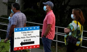 People waiting in line last week to cast their ballots for the upcoming presidential election as early voting begins in Houston, Texas.