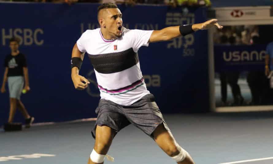 Nick Kyrgios celebrates his win over Rafael Nadal