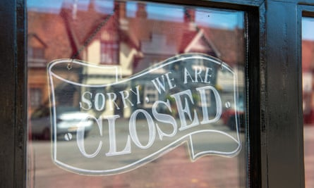 Closed sign in a shop window in Beaconsfield, Buckinghamshire, 12 May 2020.