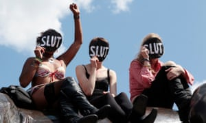 SlutWalk participants – the protest movement aimed to highlight the injustice of blaming the victim rather than the rapist or abuser.