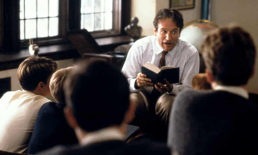 Robin Williams reads to school boys in the film Dead Poets Society.