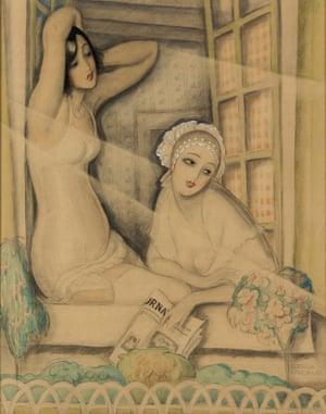 Two Women in a Window by the Danish illustrator Gerda Wegener, circa 1920