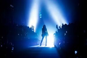 London, UKIzabel Goulart walks the runway at the Julien Macdonald show during London Fashion Week at Southwark Cathedral