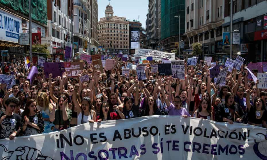 Spanish students protest against an initial verdict of abuse for a group of men who were convicted later of raping a woman at the Pamplona bull run.