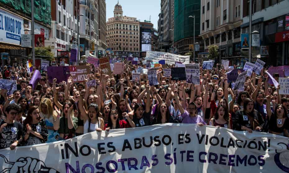 Protesters in Madrid after the 'Wolf pack' trial and not guilty verdict.