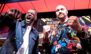 Tyson Fury (right) and Deontay Wilder at a press conference in Los Angeles in January during the buildup to their rematch in Las Vegas.