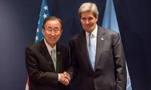 Ban Ki-moon and John Kerry at the Paris climate talks.