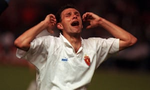 Gus Poyet enjoys Real Zaragoza's Cup Winners' Cup final win over Arsenal in 1995.