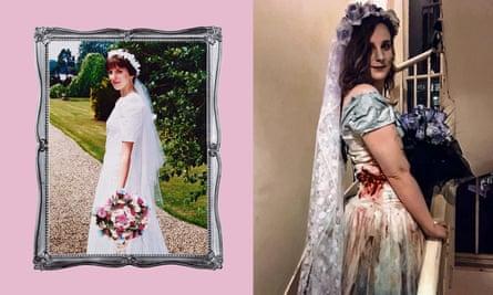 Rachael Falkner turned her wedding dress (left) into a Halloween costume for her daughter.