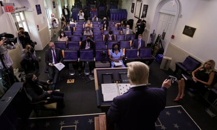 President Trump briefs press at the White House.