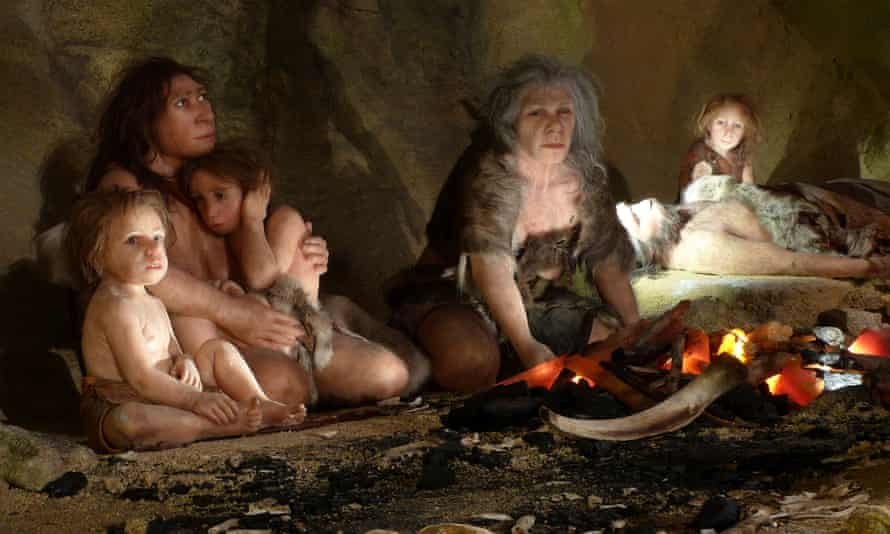 A reconstruction of a Neanderthal family from Krapina.