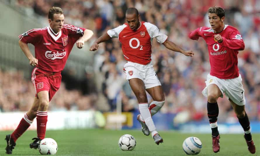 Rob Jones, Thierry Henry and Cristiano Ronaldo