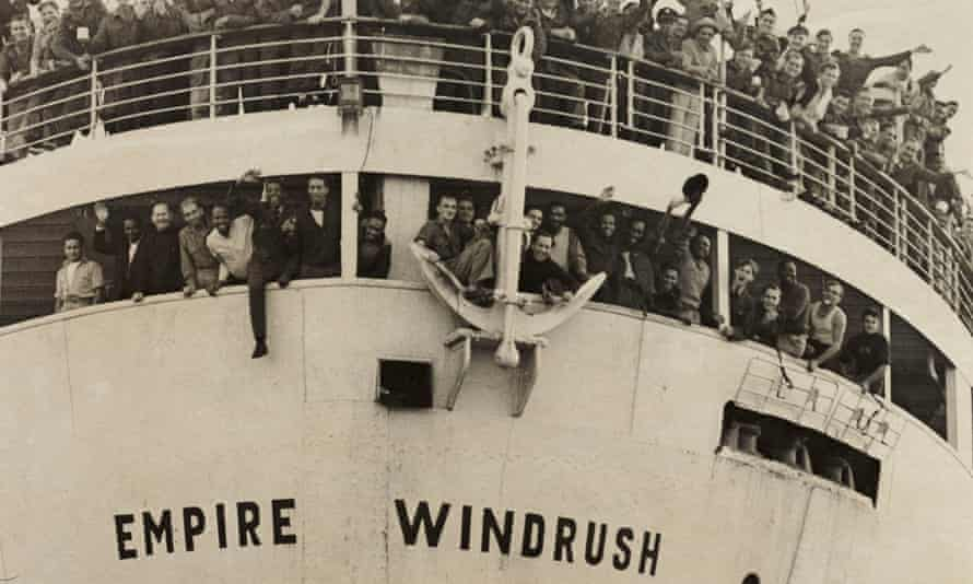The 'Empire Windrush' arriving from Jamaica at Tilbury Docks in 1948.