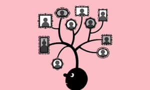 Illustration of boy with family tree on his head