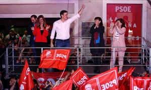 Pedro Sánchez greets supporters in Madrid after his party's victory