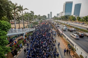 Jakarta, IndonesiaUniversity students protest outside the Indonesian parliament