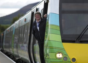 Train driver Yvonne Reid on her Borders train.