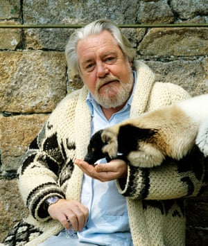 Gerald Durrell with lemurs at Jersey zoo, now Durrell Wildlife Conservation Trust