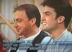 Jonathan Schmitz, right, sits next to Scott Amedure in this image taken from video shown to jurors in Schmitz's murder trial in Pontiac, Michigan on 17 October 1996.