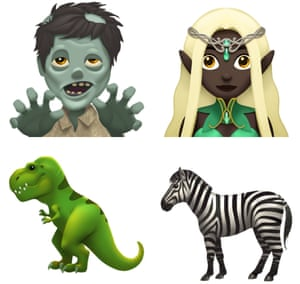 An eclectic mix of the new emoji available in iOS 11.