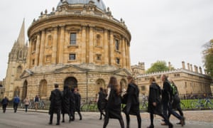 Students walking to matriculation at the University of Oxford