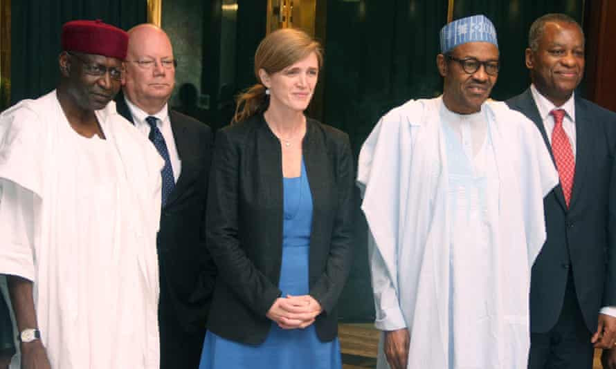 The Nigerian president's chief of staff, Abba Kyari (L), pictured with the former US representative to the United Nations, Samantha Power, and Nigeria's President Mohammadu Buhari (R). Kyari has died from coronavirus.