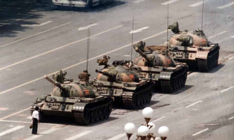 Tanks halted in Tiananmen Square on 5 June 1989.