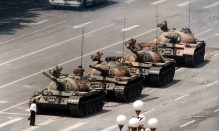 Tanks halted in Tiananmen Square on 5 June 1989.