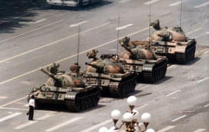 Jeff Widener's photograph of the protester, never identified, who faced down the tanks at Tiananmen Square.