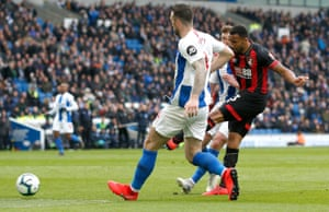 Callum Wilson of AFC Bournemouth scores his team's fourth goal.